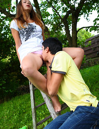 Kormel was supposed to be helping Sara out in the orchard but every time she went up the ladder he couldn't resist slipping his fingers in to her panties and teasing her tight wet pussy!