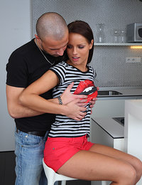 While dinner was great Miroslava and Victor needed some sort of desert, and that came in a form of a great fuck in the kitchen, with horny teen couple screwing all over the place