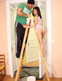 Very hot teenage brunette shagging the painter hardcore