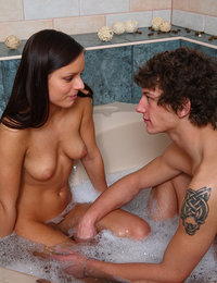 This tight bodied teen really loves to get fucked in the bathtub, the way the warm water laps at her thighs as she is getting her dripping wet pussy pounded and the way her tits press up against the side of the tub!
