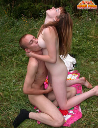 Innocent Russian teen becoming a real dirty slut fucking her boyfriend's cock outdoors